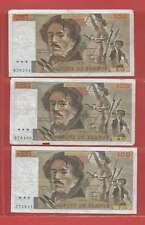 Lot de 3 x 100 FRANCS EUGENE  DELACROIX de 1979 ALPHABETS  N.10  M.11  P.13