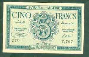 TOP QUALITÉ !!! BILLET DE 5 FRANCS ALGÉRIE DE1942 NEUF