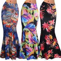 Womens Dress Pencil Boho High Waist Bodycon Maxi Floral Wrap Tube Full Skirt New