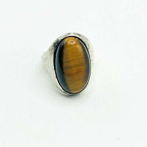 Sterling Silver 925 Men's Ring VTG Brown Tiger's Eye Stone  Rings US Size 9 1/2