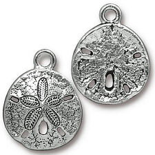 Sand Dollar Jewelry Charm Antiqued Silver Pewter 2 Charms Pc56
