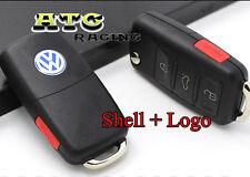 4 Buttons Flip Remote FOB Key Shell Case Uncut for VW Passat Jetta + VW Emblem
