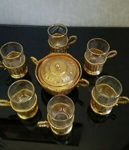Antique Persian 24K Gold Plated Hand Carved Tea Tray Set  Cups & Sugar Kings