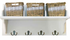 Large Storage Unit With Wicker 3 Basket Wooden Shelf Rack Wall Mounted Hooks
