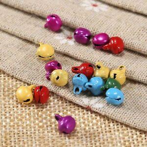 100pcs Jingle Bells Charms Random Color Iron Beads Xmas Pendants Jewelry Making