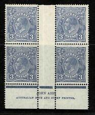 Australia 1932 King George V 3d Blue CofA Wmk Ash Imprint Block of 4 MH/MNH