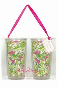 LILLY PULITZER Insulated Tumbler Set of 2 ELEPHANT EARS Acrylic Drink Glass 16oz