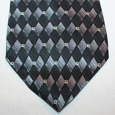 "NEW 60"" Dockers Silk Neck Tie Black with Silver Gray and Blue Diamonds 147"