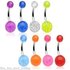 8 PCS UV Acrylic Glitter Ball Belly Ring Navel (w681)