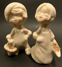 Vintage Boy and Girl Bisque Figurines in Muted Colors and Pink Flowers