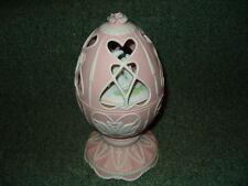 Vintage Avon Simply Elegant Music Box Pink Easter Egg Bisque Porcelain Bluebirds