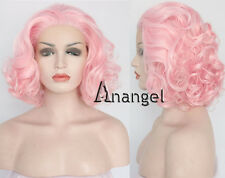 Pink Lace Front Wig Short Bob Woman's Hair Heat Synthetic Resistant Full Wigs