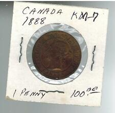 1888 Canada One Cent  large Penny coin # KM 7