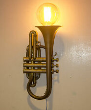 ANTIQUE VINTAGE BRASS CORNET, MADE IN INDIA, CONVERTED TO WALL LAMP