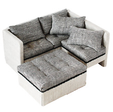 Miniature Bed 2 in 1 Dollhouse Furniture grey checkered Upholster Sofa Furniture