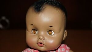 Vintage 1969 Effanbee Baby Black African American Baby Doll Rubber