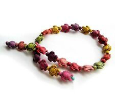 One Multi-Color Howlite Turquoise Longevity Turtle Beads Strand-18x14mm