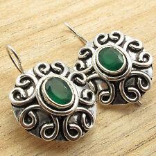 """Tibetan Look HANDWORK Earrings 1.2"""" ! Real GREEN ONYX Gem ! 925 Silver Plated"""