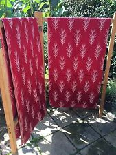 """VINTAGE 1940-60's DEEP RED RAYON WITH IVORY TREE CURTAINS/FABRIC - 46""""W X 72""""L"""