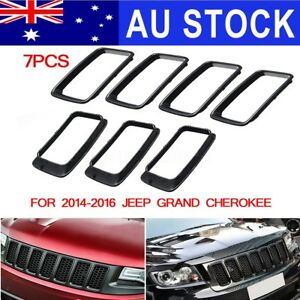 For 2014-2016 Jeep Grand Cherokee Gloss Grille Hole Vent Trim Ring Insert 14-16