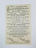 1890 Worcester Massachusetts Advertisement Apothecary Burbank Collins Mellor
