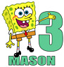 """SpongeBob Iron On Transfer, 5""""x5.25"""" w/ Name and Age for LIGHT Colored Fabric"""