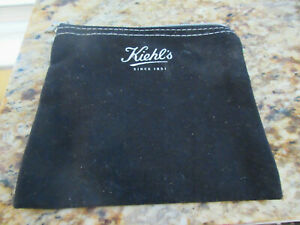 KIEHL's Small Cosmetic Black Canvas Cosmetic Bag w Charm and Zipper