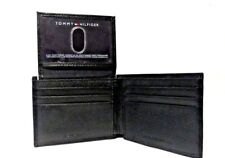TOMMY HILFIGER Black Leather WALLET & Valet Notes 6 Cards PLUS  ID window