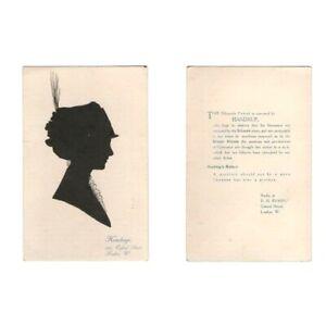 PC CHARLES HANDRUP LONDON ART SILHOUETTE PAPERCUT LADY IN HAT ADVERT CARD