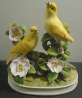 VINTAGE GROUP OF CANARIES PORCELAIN BIRD STATUE ANDREA BY SEDAK