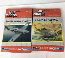 Vintage Lap Snaps Monogram Model Kit 1062 & 1063 Huey Chopper & Me109 Messerchmi