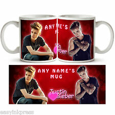 JUSTIN BIEBER PERSONALISED MUG Cup Tea Coffee Name Music Present Gift Love New