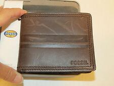 Fossil Clark Bifold brown SML1414200 Men's wallet billfold ID NEW **has marks