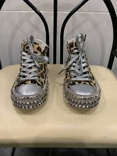 Leopard Print Spiked Shoes High Top Sneakers Converse All Star Women's Size 7