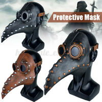 Plague Doctor Mask Bird Mouth Long Nose Beak Faux Latex Steampunk for Halloween
