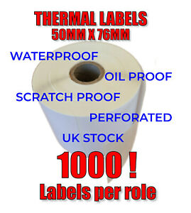 Thermal Printer Labels 76mm x 50mm White Direct Zebra 25mm Core 1000 Per Roll