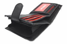 ODS:UK® MENS BLACK GENUINE REAL LEATHER WALLET WITH LARGE ZIP AROUND COIN P