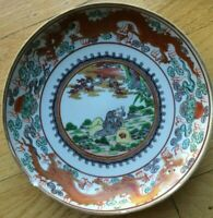 "Imari Antique Plate 8 3/8"" Dragon Design with Reclining Man"