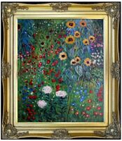 Framed, Klimt Garden with Sunflowers Repro, Hand Painted Oil Painting 20x24in