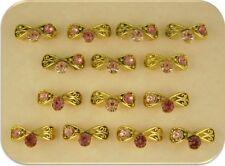 2 Hole Beads Filigree Bows w/Pink Rose Swarovski Crystal Elements Sliders QTY 14