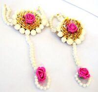 Jewelry Pink Rose Gota Patti Bracelet For Women And Girls Fashion Floret