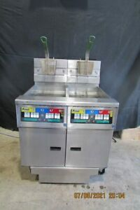 PITCO DOUBLE GAS DIGITAL FRYER WITH FILTRATION SYSTEM, ON CASTERS