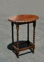 Antique French Country Oval Pie Crust Edge Top Barley Twist Side Table