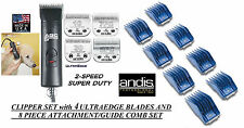 Andis SUPER Pro 2-Speed Clipper,4 ULTRAEDGE BLADES,8 GUIDE COMB SET*PET Grooming