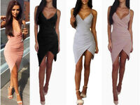 Women slinky Wrap Ruched Strappy Low Draped Bustline Slit Party Evening Dress