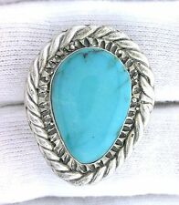 Vintage Handmade Casted Southwest Pure Sterling Silver Turquoise Cabochon Ring