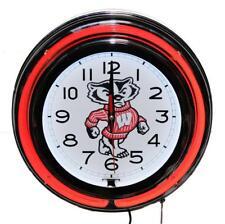 Wisconsin Badgers Neon Clock NCAA New Wall Clock Lifestyle Lighting