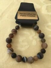 Agate Bracelet, Brown and Beige Frosted Agate, cool to touch,