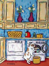 BullDog dog doing the laundry dog art print 8.5x11 modern