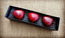 """3 Red Heart Soapstone Sentiment Pebbles in Box """" I love You"""" Valentines Gift"""